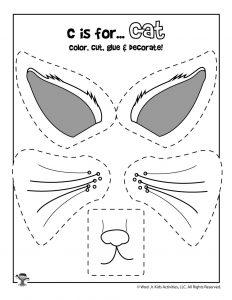 C is for Cat Coloring Craft Activity