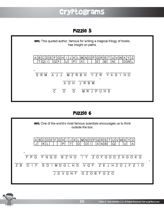 image regarding Cryptogram Puzzles Printable identify Cryptogram Mystery Code Puzzles Woo! Jr. Young children Pursuits