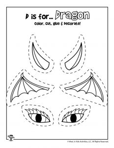 D is for Dragon Coloring Craft Activity