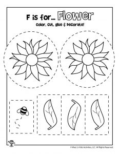 F is for Flower Coloring Craft Activity