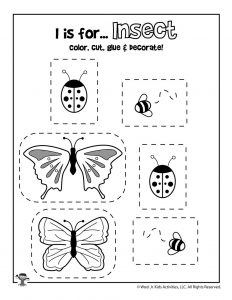 I is for Insect Coloring Craft Activity