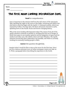 First Moon Landing Reading Worksheet Part 2