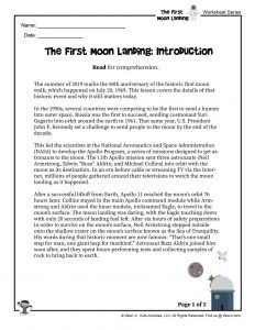 First Moon Landing Reading Worksheet Part 1
