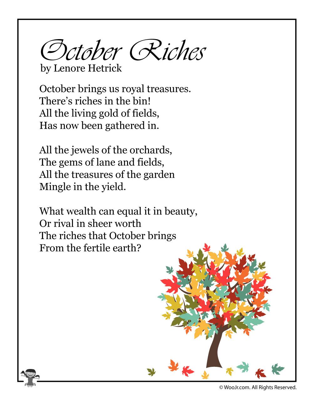 October Poem For Children Woo Jr Kids Activities
