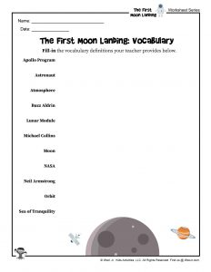 Moon Landing Vocabulary Words Definitions Worksheet