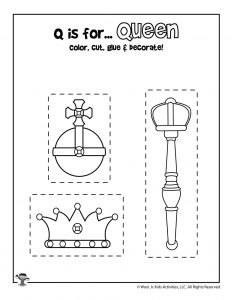 Q is for Queen Coloring Craft Activity
