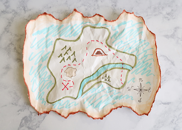Vintage Treasure Map Craft Tutorial (X Marks the Spot ...