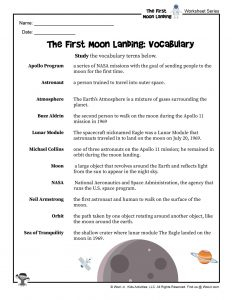 Moon Landing Vocabulary Words