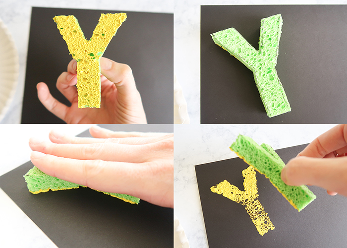 Y is for Yellow Sponge Stamping Craft