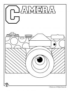 C is for Camera Coloring Page