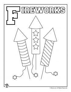 F is for Fireworks Coloring Page