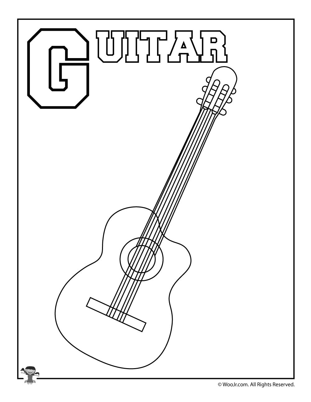 G Is For Guitar Coloring Page Woo Jr Kids Activities