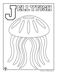 J is for Jellyfish Coloring Page
