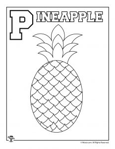 P is for Pineapple Coloring Page