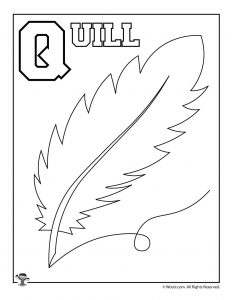 Q is for Quill Coloring Page