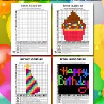 Happy Birthday Grid Coloring Pages