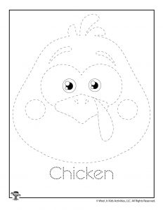 C is for Chicken Word Tracing Worksheet