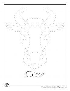 C is for Cow Word Tracing Worksheet