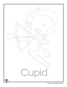 C is for Cupid Word Tracing Worksheet