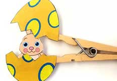 Eggs Clothespin Puppets Craft