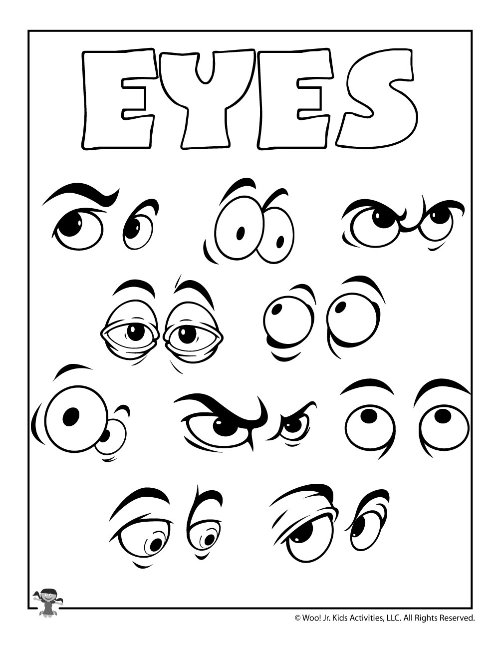 E is for Eyes Coloring Page Woo
