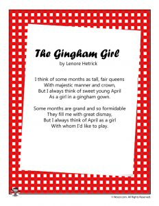 Gingham Girl Poem for Children