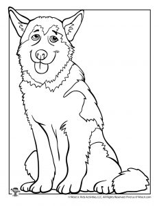 H is for Husky Coloring Page