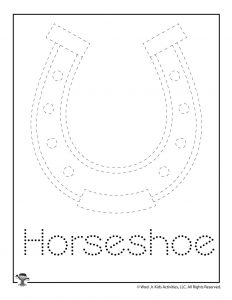 H is for Horseshoe Word Tracing Worksheet