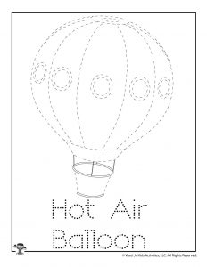 H is for Hot Air Balloon Word Tracing Worksheet