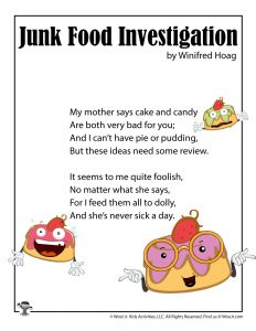 Junk Food Silly Kids Poem