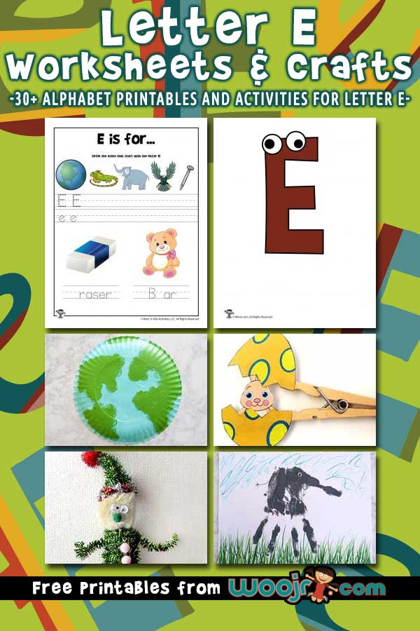 Letter E Worksheets and Crafts