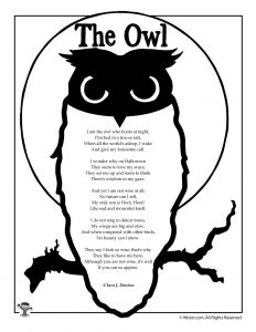 Owl Kids Poem Printable