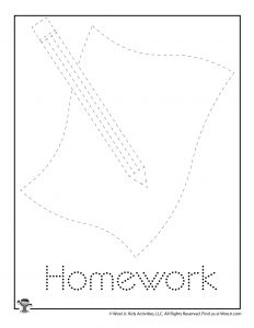 H is for Homework Word Tracing Worksheet