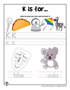Letter K Phonics Recognition Worksheet