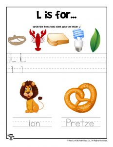 Letter L Phonics Recognition Worksheet