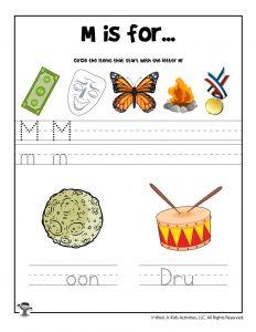 Letter M Phonics Recognition Worksheet