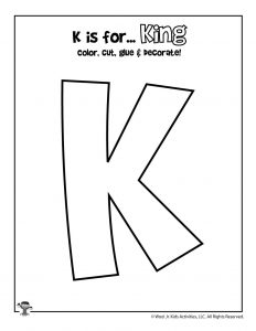 K is for King Coloring Craft Activity