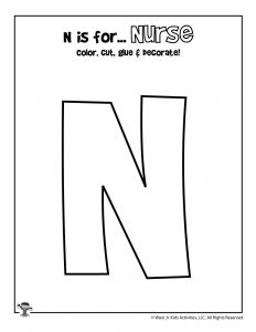 N is for Nurse Coloring Craft Activity