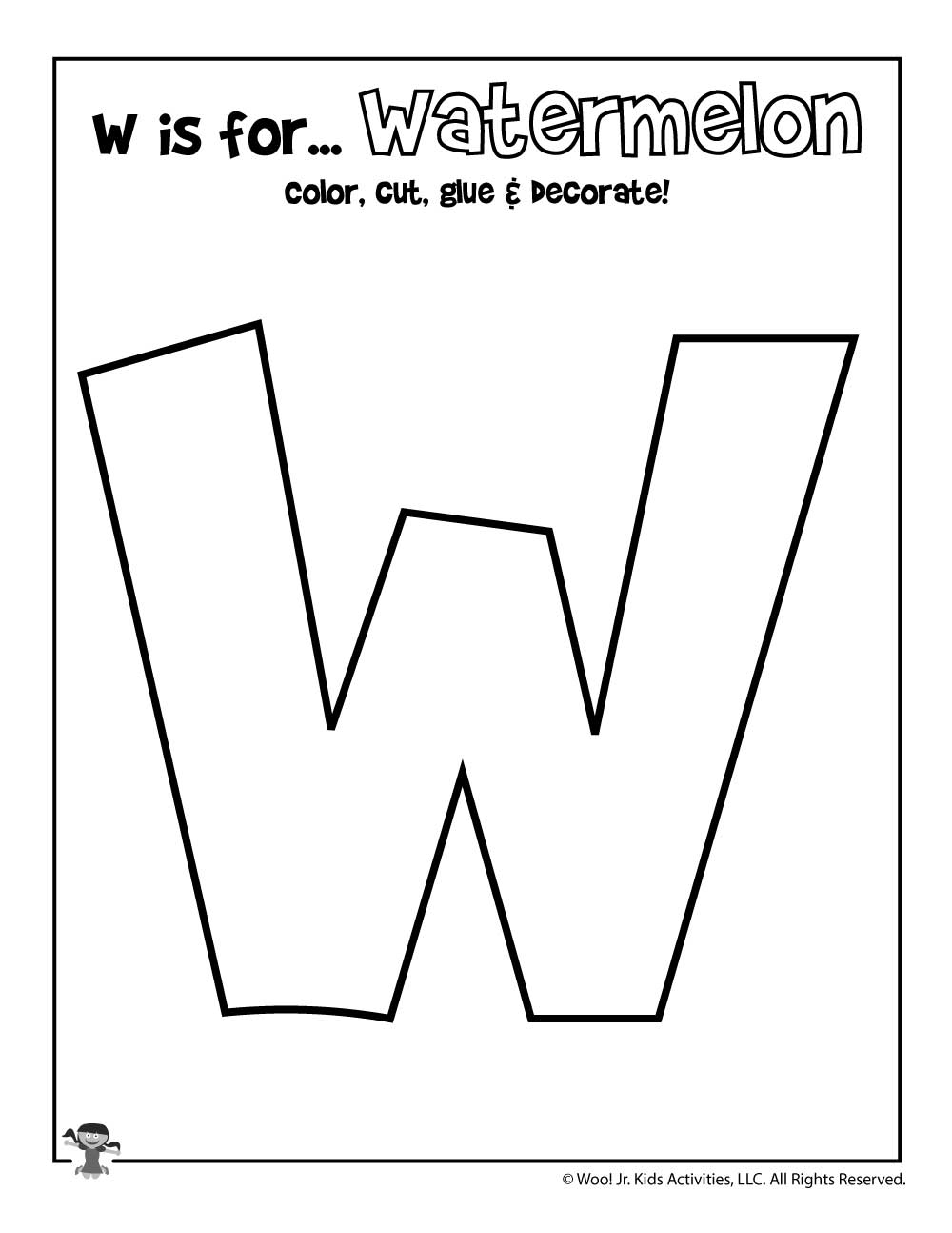 graphic regarding Letter W Printable called Printable Letter W Craft Woo! Jr. Small children Things to do