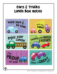 Cars & Trucks Lunchbox Notes for Kids