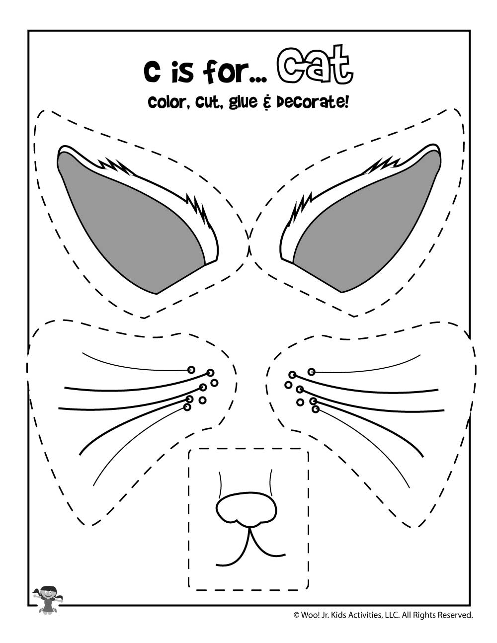C Is For Cat Color Cut And Paste Woo Jr Kids Activities