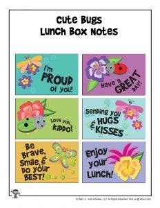 Printable Lunchbox Notes - Cute Bugs