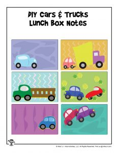Cars and Tucks Blank Lunchbox Notes