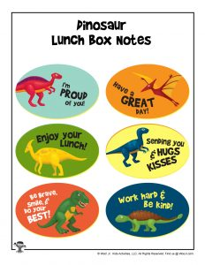 More Dinosaurs Lunchbox Notes for Boys