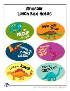 Dinosaur Lunchbox Notes to Print