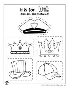 H is for Hat - Color, Cut and Paste