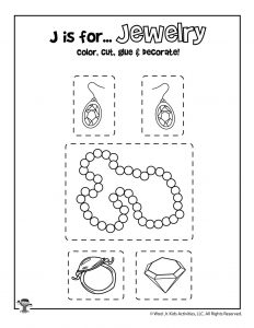 J is for Jewelry - Color, Cut and Paste