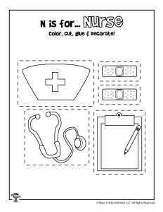 N is for Nurse - Color, Cut and Paste