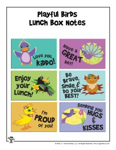 Printable Lunchbox Notes - Playful Birds