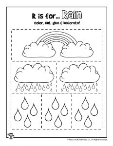 R is for Rain - Color, Cut and Paste